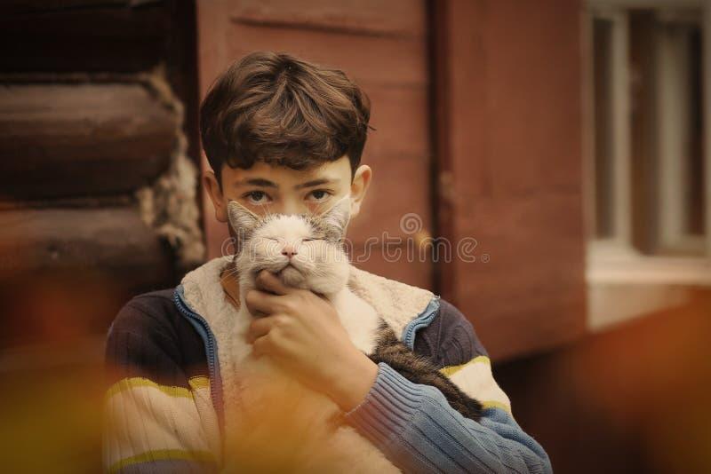 Menino do adolescente com o gato na sesta do monte imagens de stock
