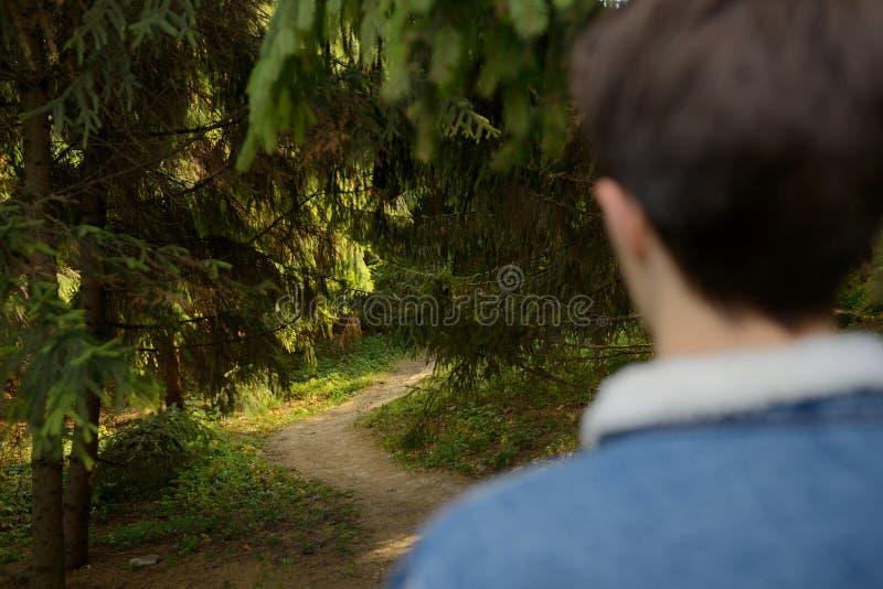 Menino do adolescente na floresta fotografia de stock royalty free