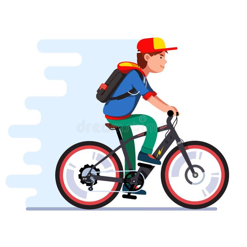 Menino do adolescente que monta a bicicleta elétrica moderna rápida ilustração royalty free