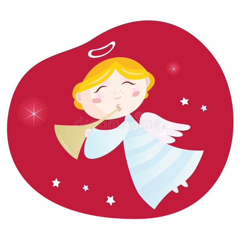 Menino do anjo do Natal com trombeta ilustração do vetor