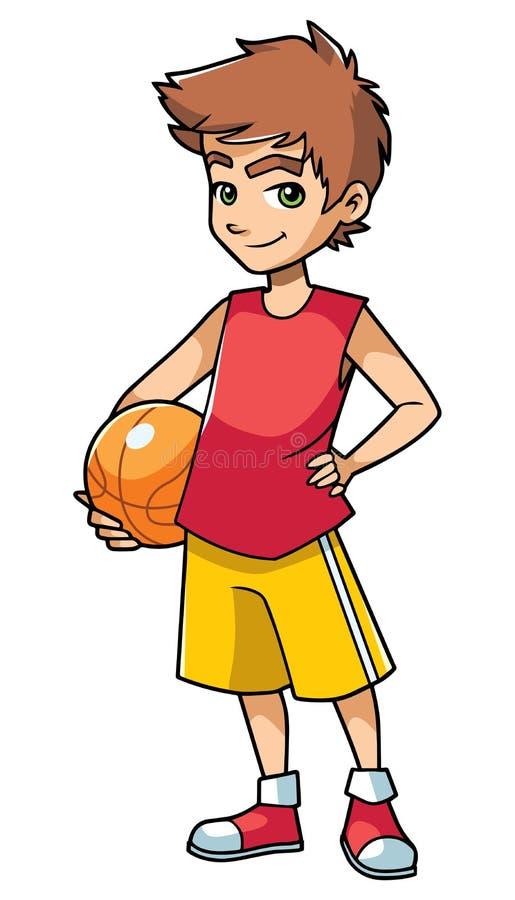 Menino do basquetebol no branco ilustração do vetor