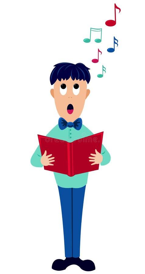 Menino do cantor dos desenhos animados. ilustração royalty free