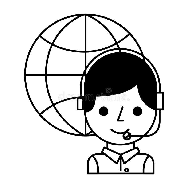 Menino do centro de atendimento com auriculares e mundo ilustração stock