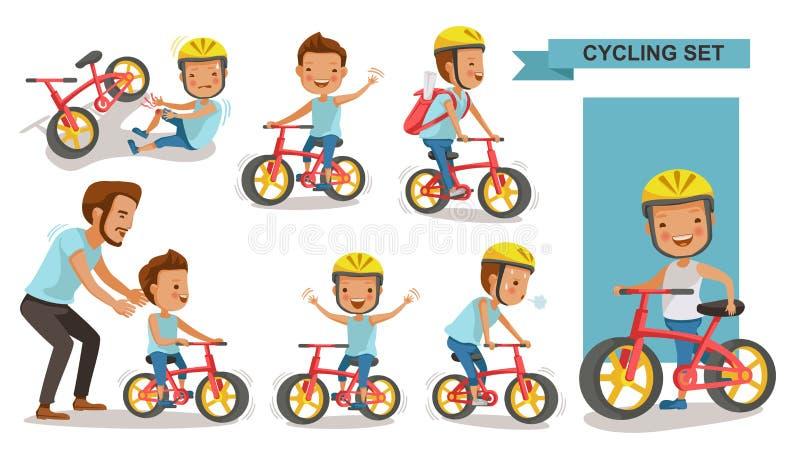 Menino do ciclismo ilustração do vetor