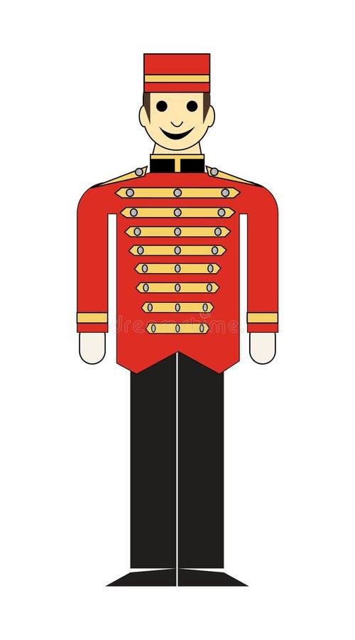 Menino do elevador em um uniforme vermelho ilustração royalty free