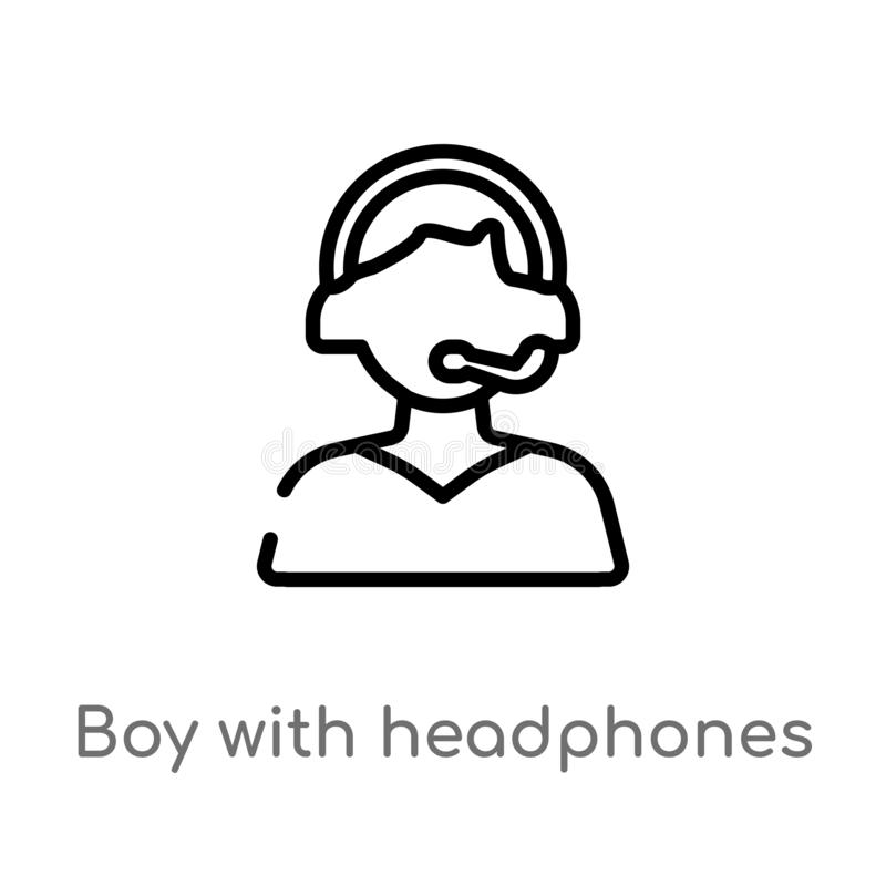 menino do esbo?o com ?cone do vetor dos fones de ouvido linha simples preta isolada ilustra??o do elemento do conceito da m?sica  ilustração do vetor