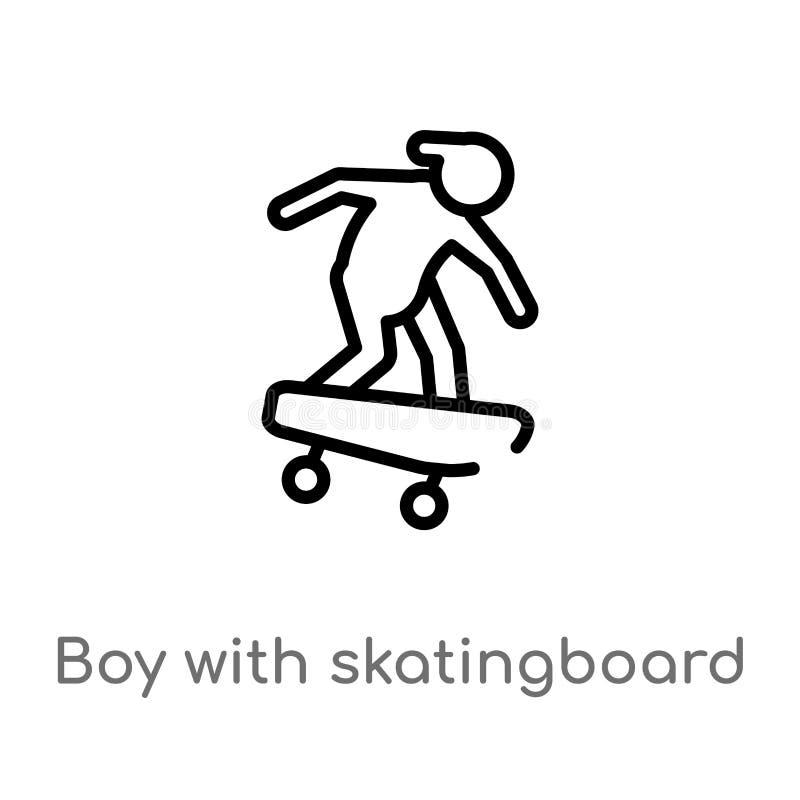menino do esboço com ícone do vetor do skatingboard linha simples preta isolada ilustração do elemento do conceito dos esportes V ilustração do vetor