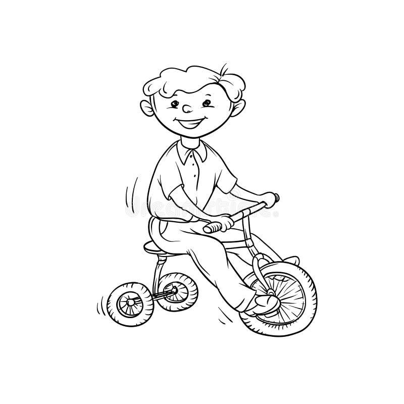 Menino do esboço do vetor no triciclo Poucos esportes da brincadeira Caminhada ativa no verão em exterior Branco preto dos desenh ilustração stock