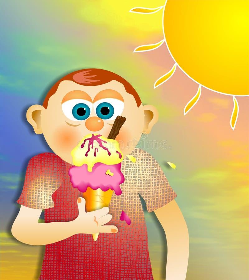 Menino do gelado ilustração stock