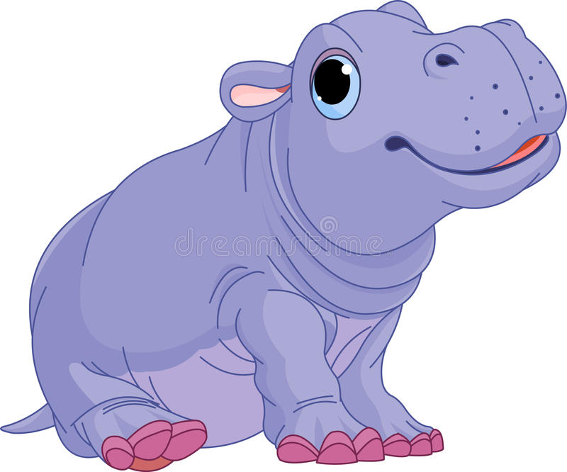 Menino do hipopótamo do bebê dos desenhos animados ilustração royalty free