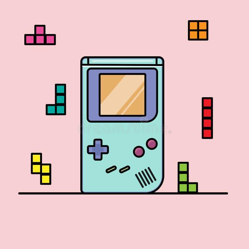 Menino do jogo do console do jogo com figuras dos tetris Desenhos animados lisos Vetor ilustração stock