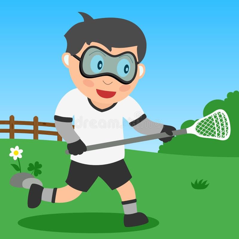 Menino do Lacrosse no parque ilustração do vetor