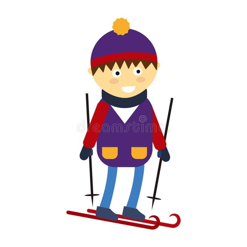 Menino do Natal que joga a ilustração feliz do vetor do caráter da criança do lazer do jogo do inverno ilustração royalty free