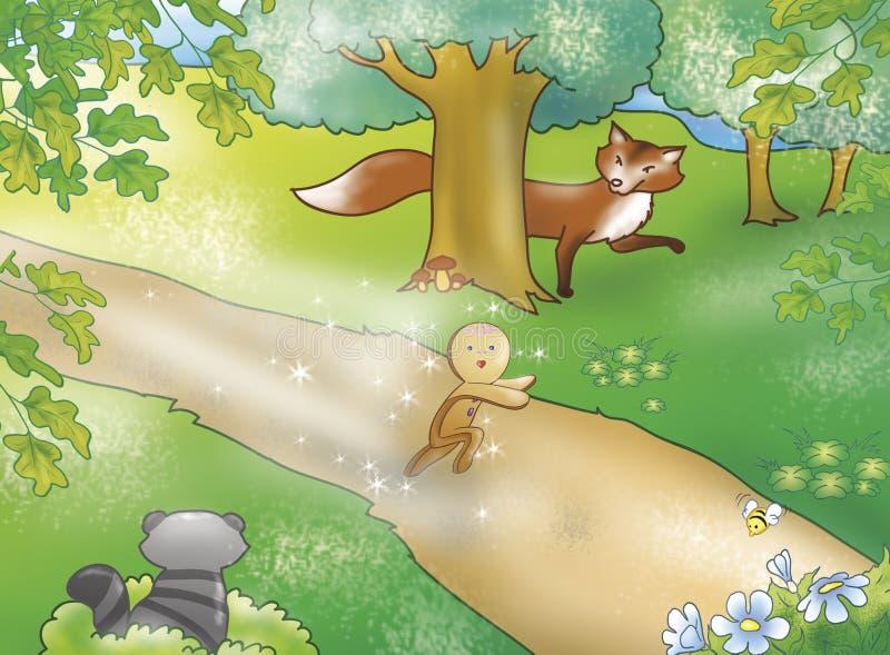 Menino do pão-de-espécie com animais ilustração do vetor