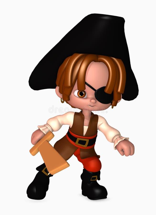 menino do pirata 3d com espada ilustração royalty free