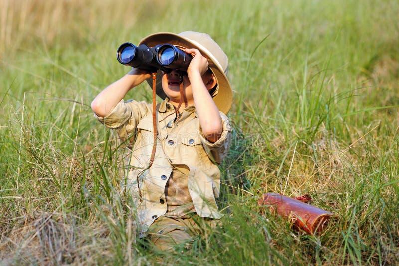 Menino do safari fotos de stock royalty free