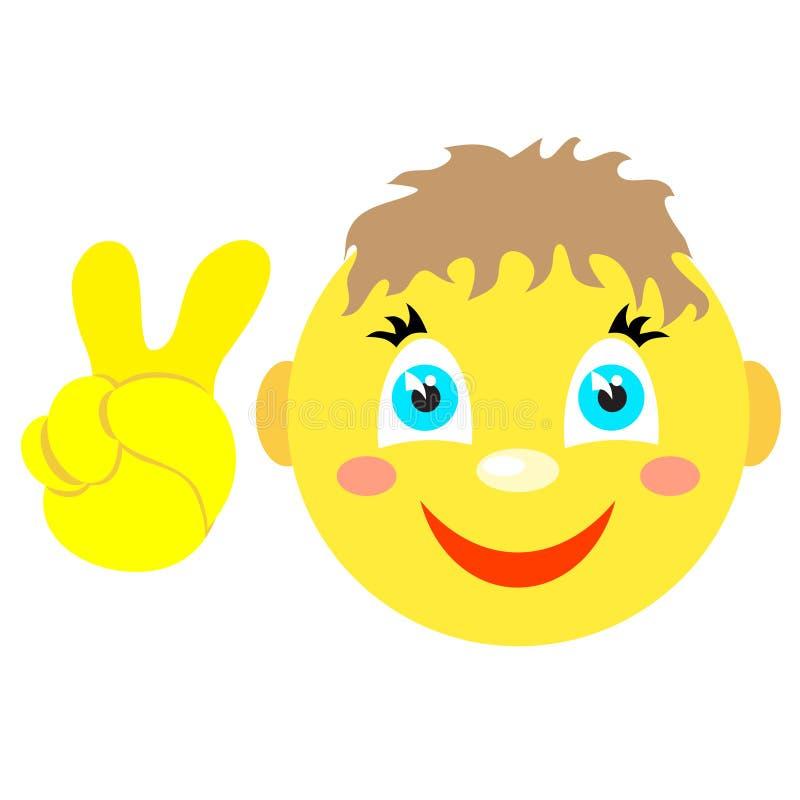 Menino do smiley com gesto de Victoria, V ilustração stock
