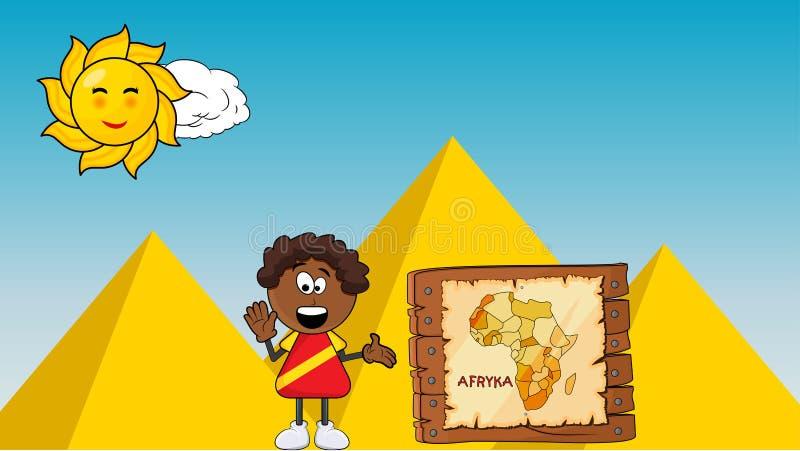 Menino do sorriso do africano negro com projeto dos desenhos animados do mapa de África no pyrami ilustração royalty free