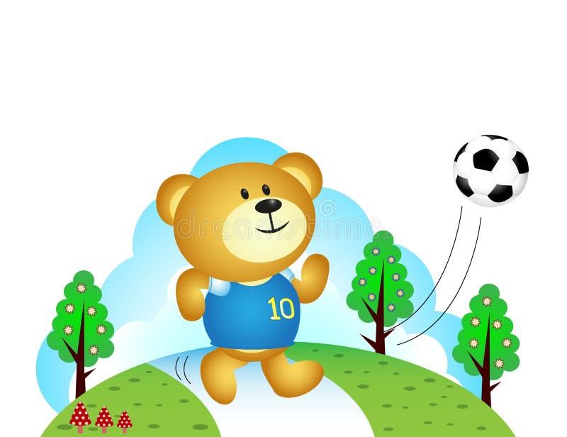 Menino do urso que joga o futebol ilustração do vetor