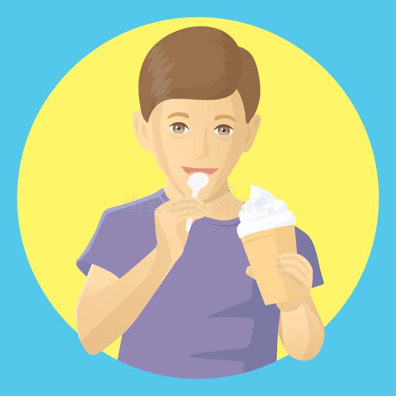 Menino do vetor que come o gelado foto de stock