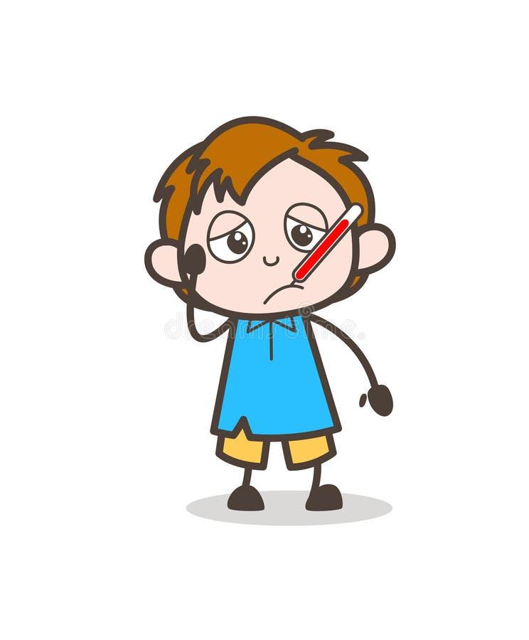 Menino doente com termômetro da febre - vetor bonito da criança dos desenhos animados ilustração stock