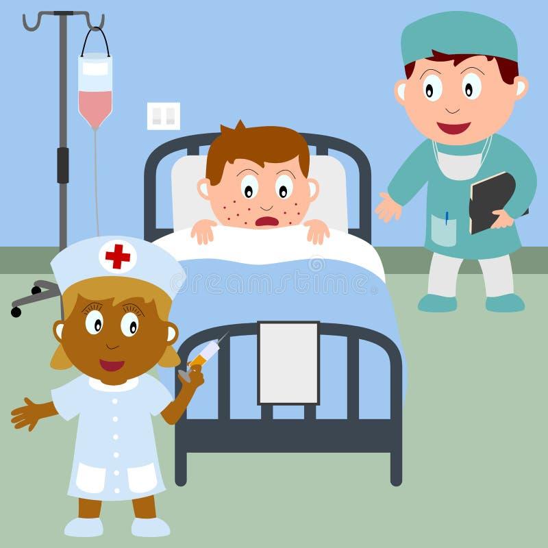 Menino doente em uma cama de hospital ilustração do vetor