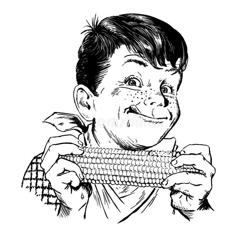 Menino dos anos 50 do vintage que come o milho ilustração stock