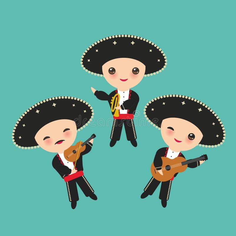 Menino dos cubanos no traje e no chapéu nacionais As crianças dos desenhos animados em Cuba tradicional vestem-se, Mariachi agrup ilustração stock