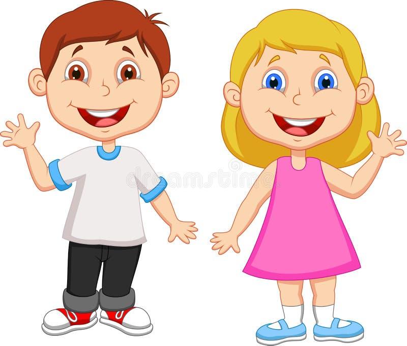 Menino dos desenhos animados e mão de ondulação da menina ilustração royalty free