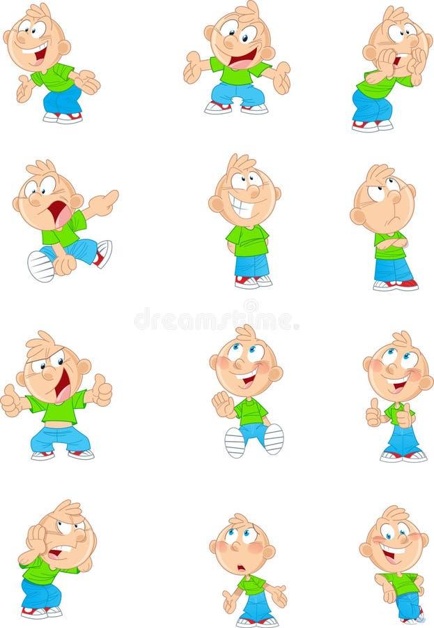 Menino dos desenhos animados em posições diferentes ilustração stock