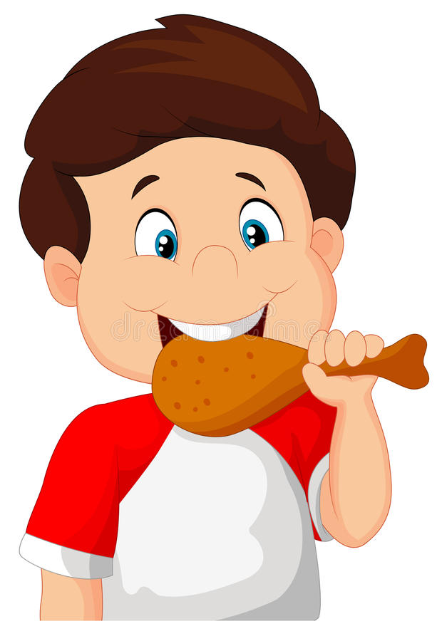 Menino dos desenhos animados que come o frango frito ilustração do vetor