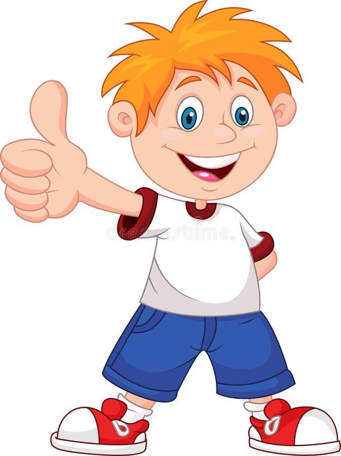 Menino dos desenhos animados que dá lhe os polegares acima ilustração stock
