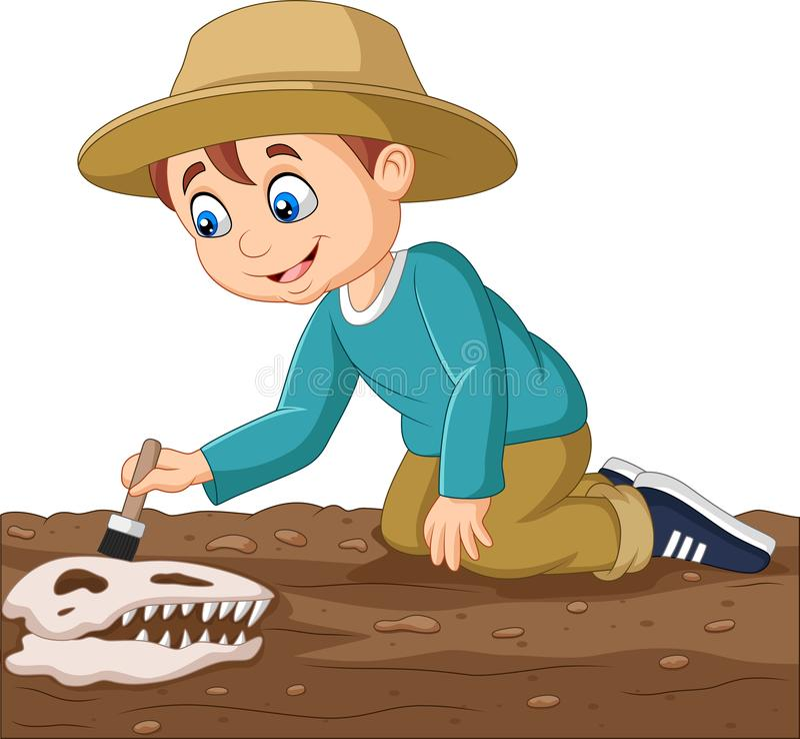 Menino dos desenhos animados que escova um fóssil de dinossauro ilustração do vetor