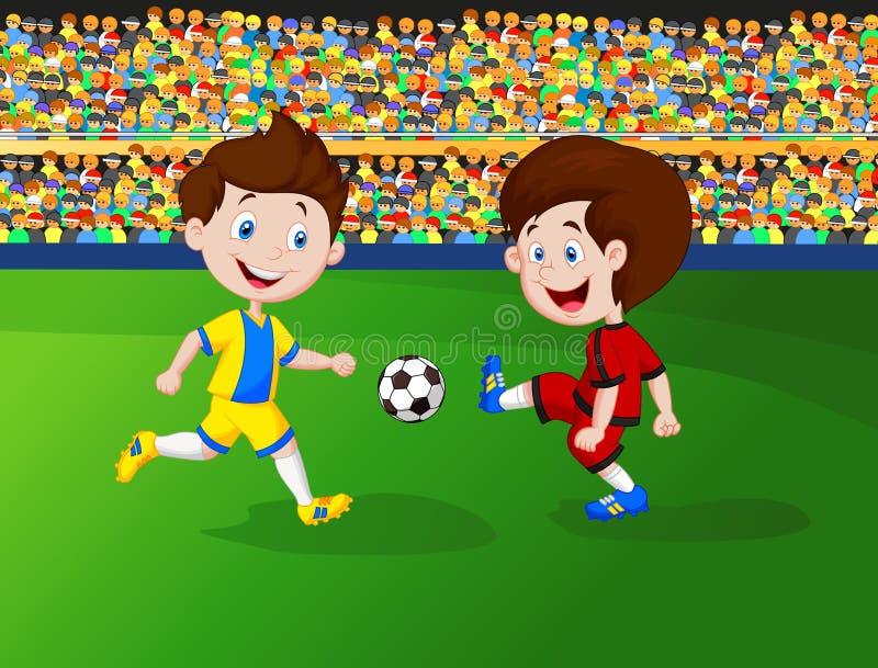 Menino dos desenhos animados que joga o futebol ilustração stock