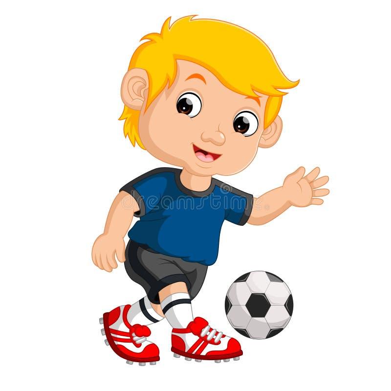 Menino dos desenhos animados que joga o futebol ilustração royalty free