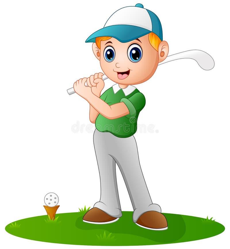 Menino dos desenhos animados que joga o golfe ilustração do vetor
