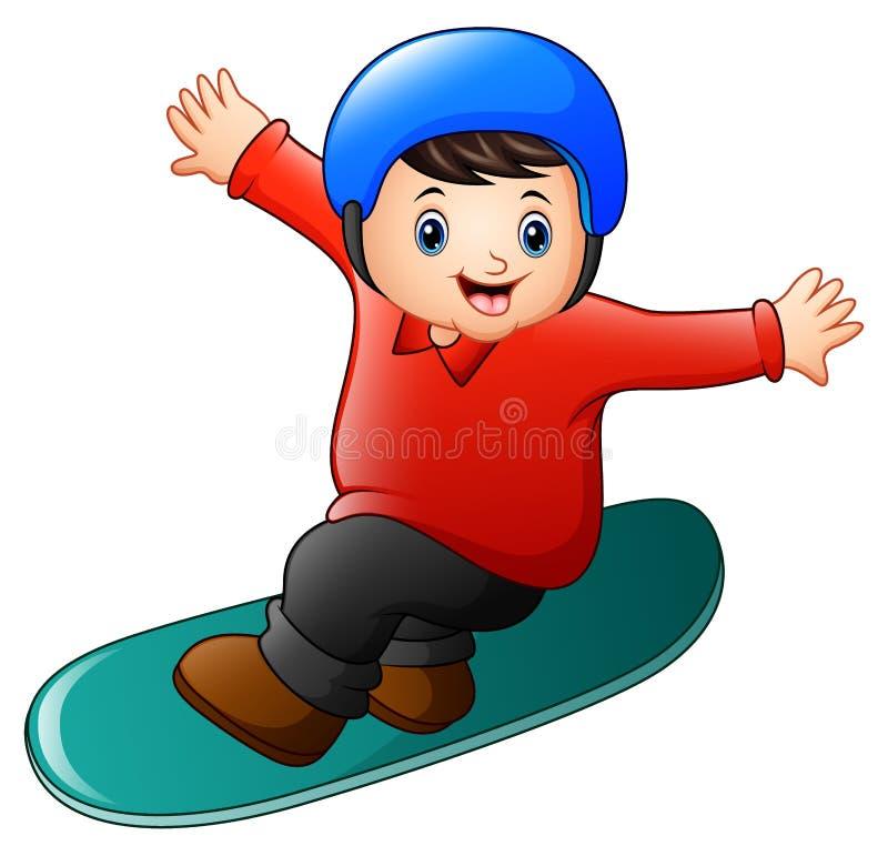 Menino dos desenhos animados que joga o snowboard ilustração royalty free
