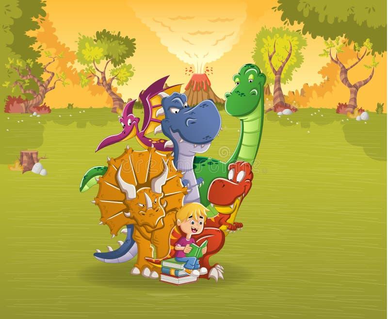 Menino dos desenhos animados que lê um livro aos dinossauros grandes em uma floresta com vulcão Paisagem pré-histórica da naturez ilustração stock