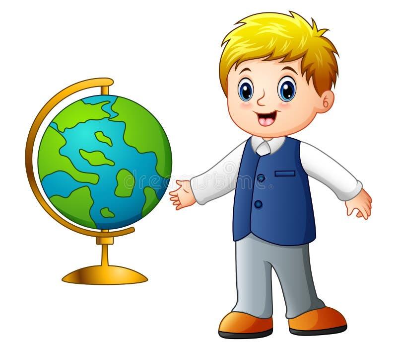 Menino dos desenhos animados que mostra o globo ilustração royalty free