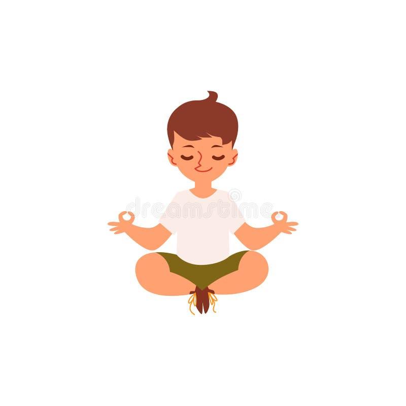 Menino dos desenhos animados que senta-se na pose e no sorriso da ioga dos lótus ilustração royalty free