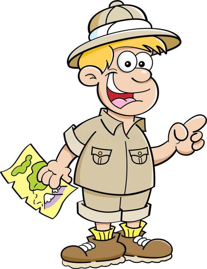 Menino dos desenhos animados vestido como um explorador ilustração stock