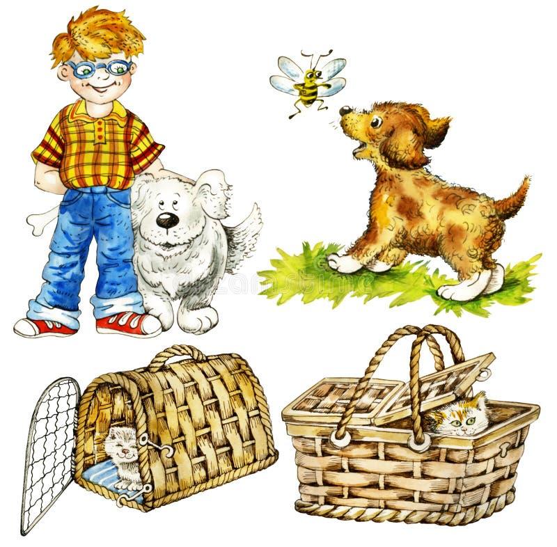 Menino e animais de estimação engraçados ilustração royalty free
