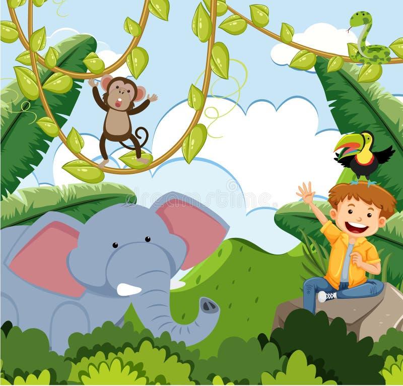 Menino e animais na selva ilustração stock