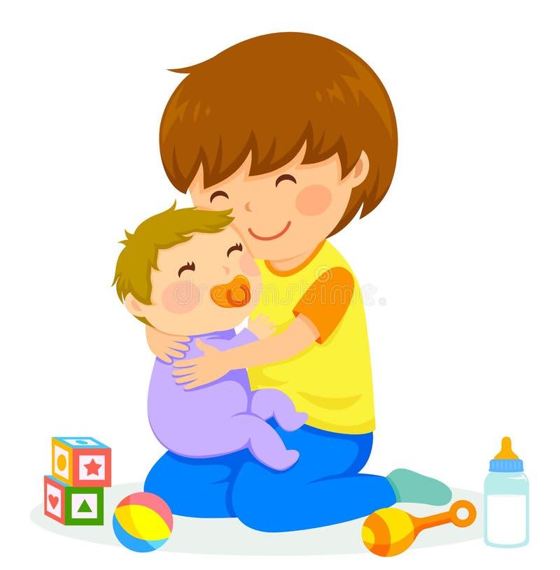 Menino e bebê ilustração royalty free