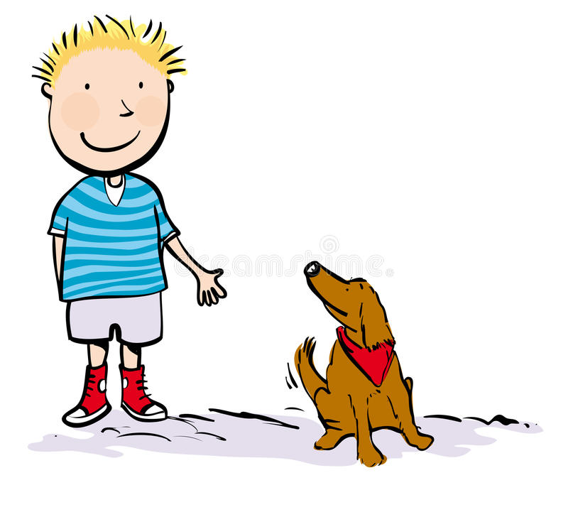 Menino e cão ilustração royalty free