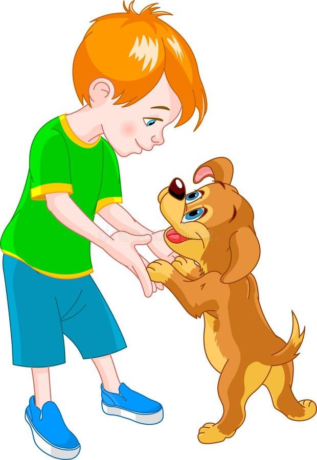 Menino e cão ilustração stock