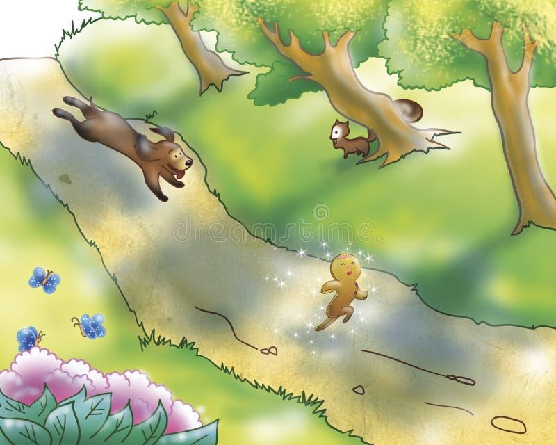 Menino e cão do pão-de-espécie ilustração do vetor