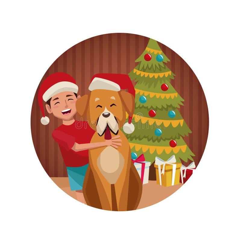 Menino e cão no Natal ilustração do vetor