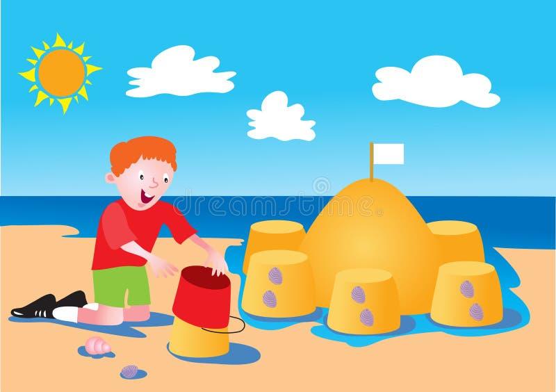 Menino e castelo de areia ilustração royalty free