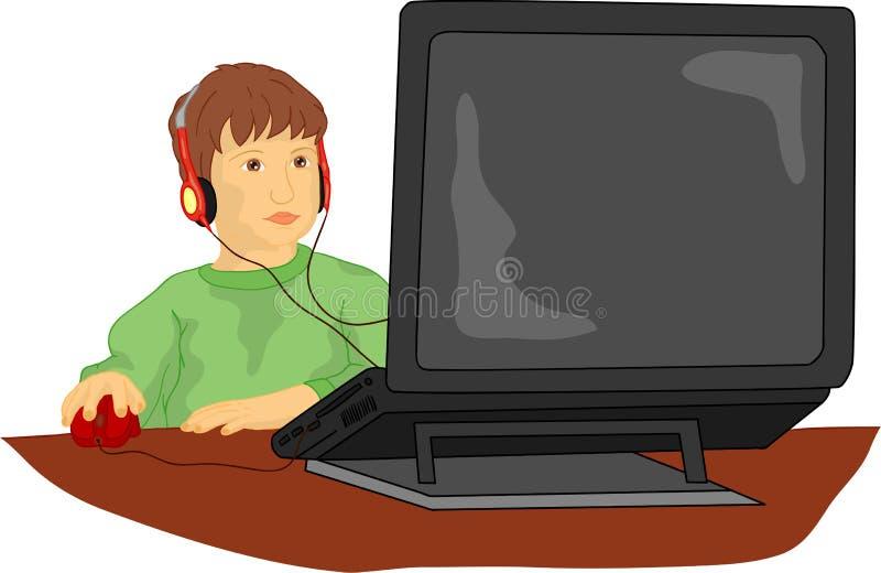 Menino e computador ilustração royalty free